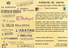 """Modica – Cento anni di carta stampata e informazione nella mostra """"Libertà di carta. Un secolo di giornalismo a Modica (1860 -1960)"""""""