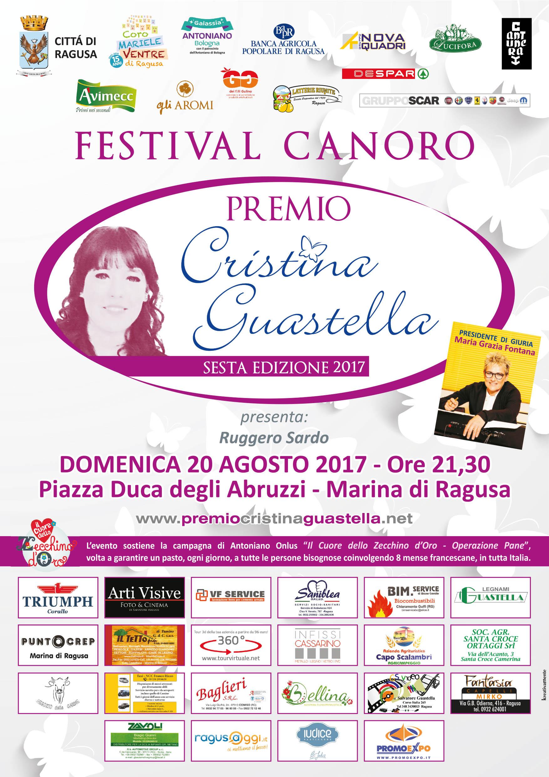 Domenica 20 Agosto Il Festival Canoro Premio Cristina Guastella A