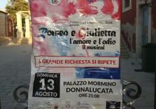 """A Grande richiesta si ripete: """"Romeo e Giulietta, l'Amore e l'Odio, il musical"""", a Palazzo Mormino a Donnalucata"""